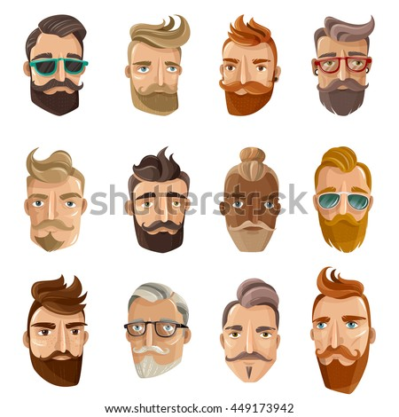 Hipster barbershop cartoon european people with beards moustaches and various stylish haircuts on white background isolated vector illustration - stock vector