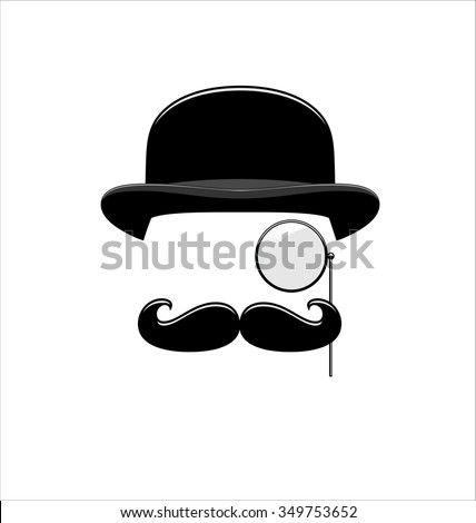 Hipster Black and White. Monocle. Mustaches. Hat. - stock vector