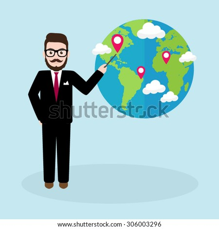 Hipster Businessman pointing on earth with location pointer - stock vector