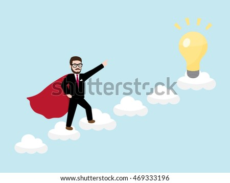 Hipster Businessman with Superhero concept on the Cloud Ladder catching a Light Bulb idea
