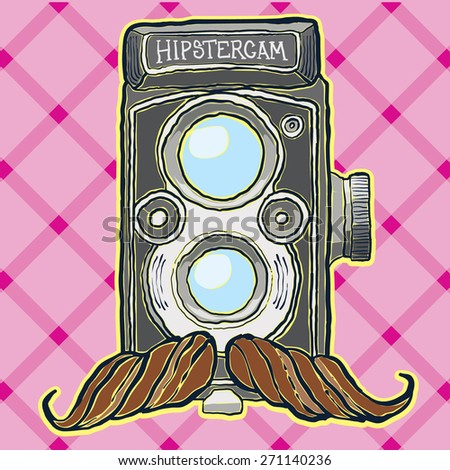 hipster camera with moustache vector illustration hand drawn - stock vector