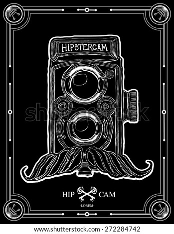hipster camera with mustache vector illustration hand drawn