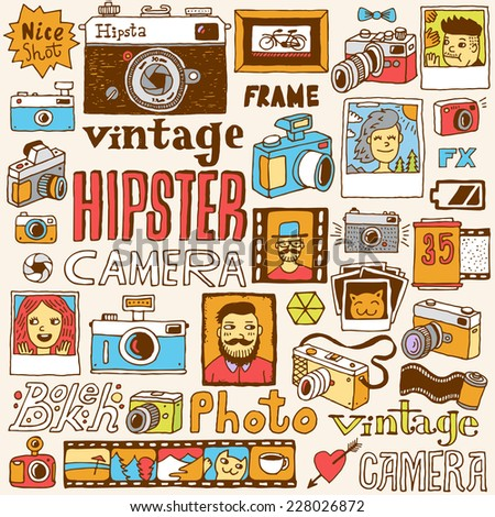 Hipster cameras doodle hand drawn vector colorful set.