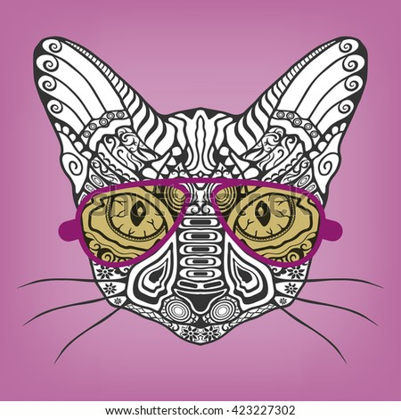 Hipster Cat Animal Portrait In A Sunglasses Isolated Hand Drawn Stylized With Ethnic