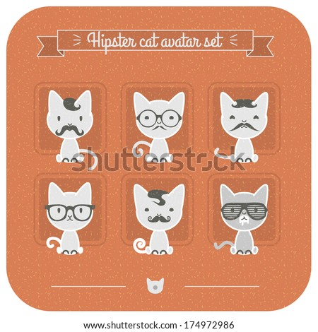 Hipster cat avatar set. - stock vector