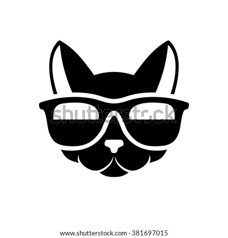 Hipster Cat Icon On White Background Stock Vector 381697015