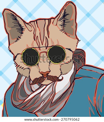 hipster cat vector illustration - stock vector