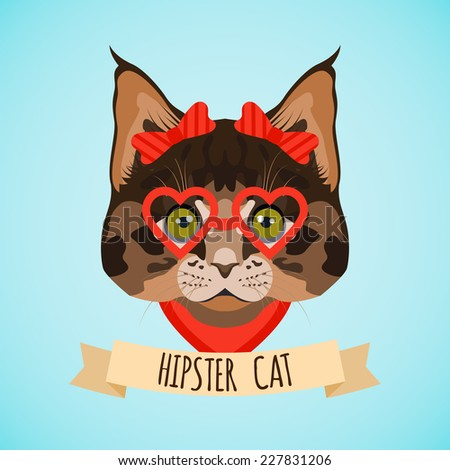 Hipster cat with glasses and bows portrait with ribbon poster vector illustration - stock vector
