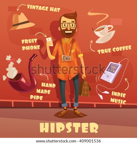 Hipster character cartoon set with vintage hat and indie music player vector illustration  - stock vector