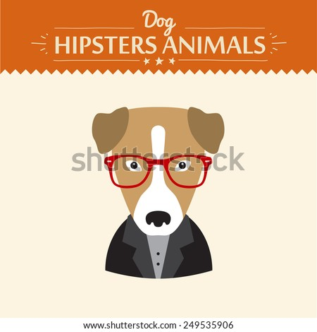 Hipster character elements for nerd puppy dog with customizable face look and clothing vector illustration flat style - stock vector