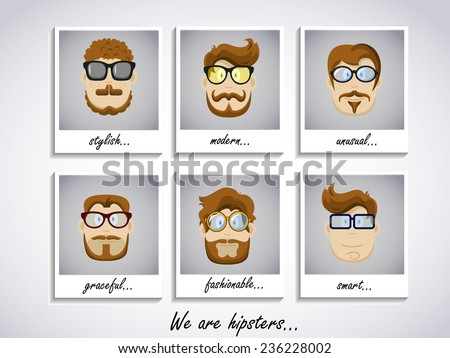 Hipster character face set. Hipster Character Kit - Hairstyles, Glasses, Mustaches, Beards. Vector illustration. EPS 10 - stock vector
