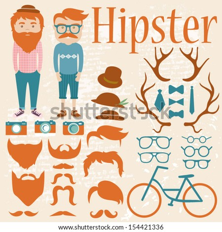 Hipster Character Kit - Hairstyles, Hats, Glasses, Mustaches, Beards, Bows, Cameras and other - stock vector