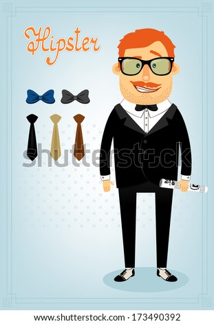 Hipster character pack for business man with accessory clothing and facial elements vector illustration - stock vector