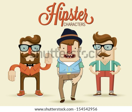 Hipster characters. Vector illustration. - stock vector