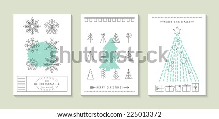 Hipster Christmas greeting card design with flat line icons - stock vector