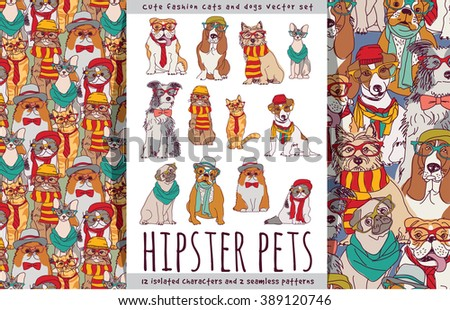 Hipster cute pets cats and dogs set. Color vector illustration. EPS8 - stock vector