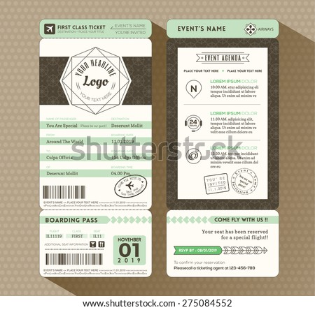 Hipster design Boarding Pass Ticket Event Invitation card vector Template - stock vector