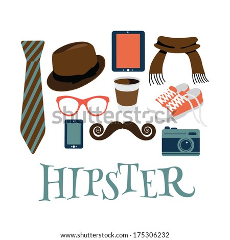 Hipster design elements isolated on white. EPS 10 vector, grouped for easy editing. No open shapes or paths. - stock vector