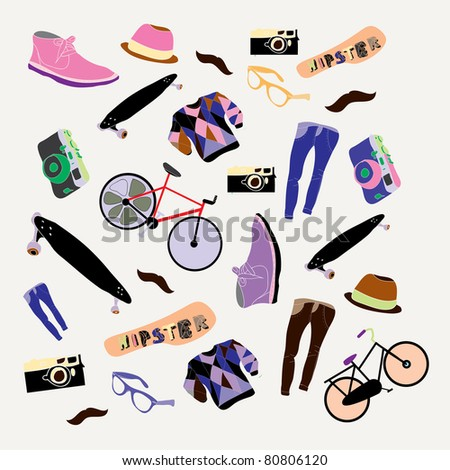 Hipster doodles set of youth trends drawings - stock vector