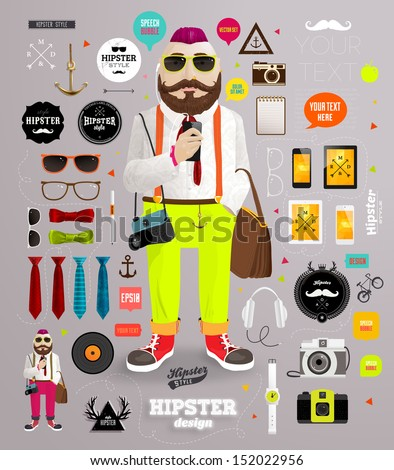 Hipster elements and icons set with Hipster Character for vintage style design - stock vector