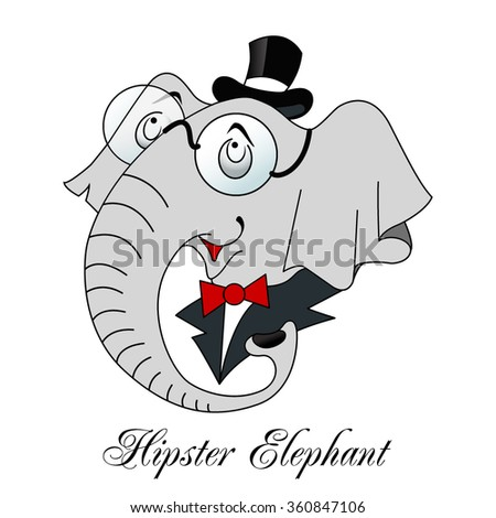 Hipster elephant - stock vector