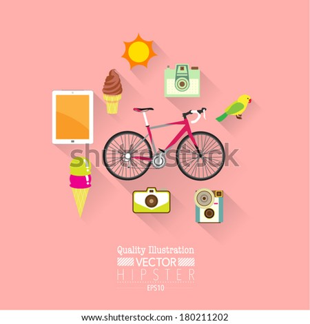 Hipster Flat Vector Icon Set : Bicycle, Camera, Tablet etc. - stock vector