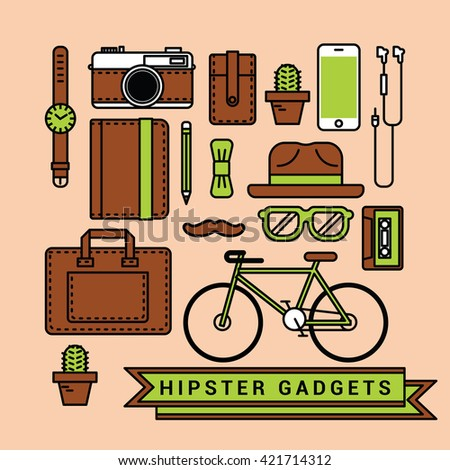 Hipster gadgets  and icons set for flat design.