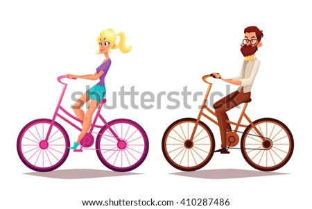 Hipster girl and boy riding bicycles, vector illustration cartoon vacation on bicycles, man with a beard and his girlfriend engaged in sport bikes, isolated people, blond girl, brunette boy, bicycles - stock vector