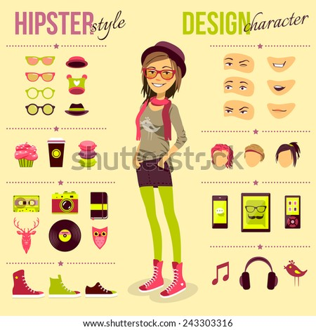 Hipster girl set with fashion accessory customizable elements isolated vector illustration - stock vector