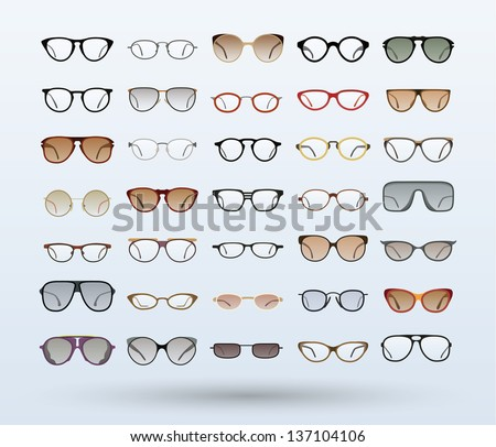 Hipster Glasses and Sunglasses icons on gray background. Vector Illustration. - stock vector