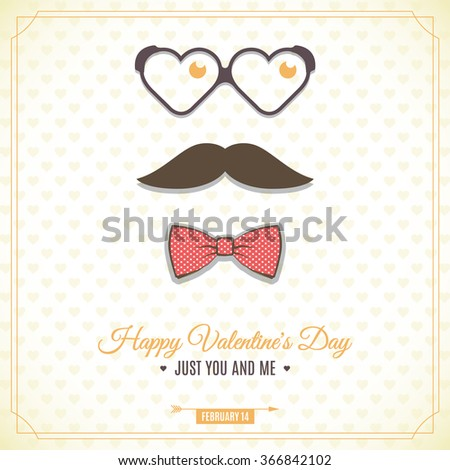 Hipster glasses and the mustache on the stripes background. Happy Valentine's day postcard. Vector illustration. - stock vector
