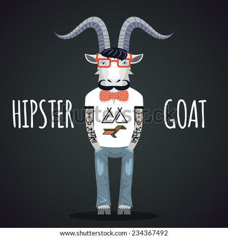 Hipster goat wearing fashionable glasses with bow tie and mustache. Space for text - stock vector