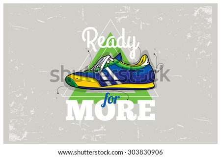 Hipster graffiti sneakers on abstract triangle background. Hand-drawn poster. Vector illustration.