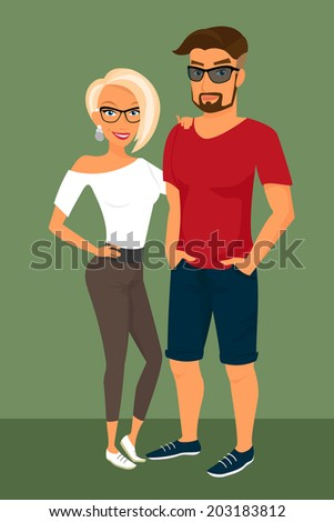 Hipster guy and his blond pretty girlfriend wearing glasses - stock vector