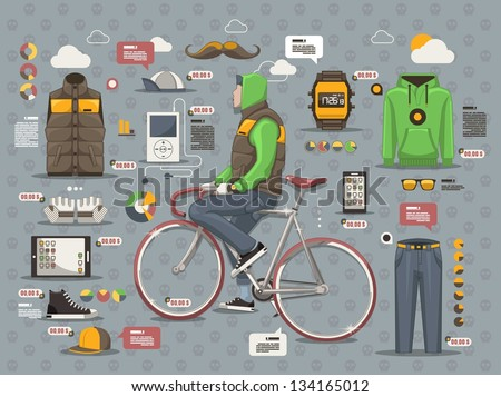 Hipster guy on a bicycle vector background, info graphic