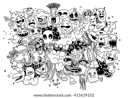 Hipster Hand drawn Crazy doodle Monster City,drawing style.Vector illustration - stock vector