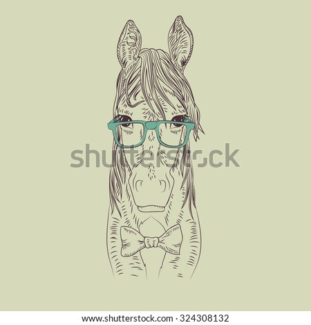 Hipster horse vector illustration. Graphic detailed brown pet. - stock vector