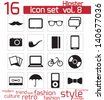 Hipster icon set - stock vector