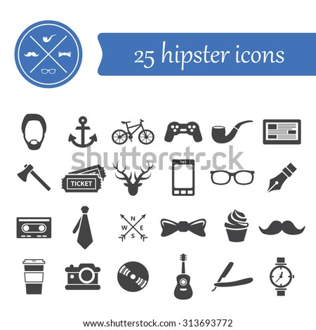 hipster icons - stock vector