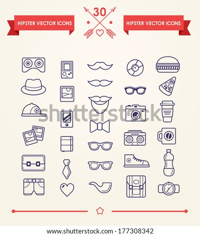 Hipster icons set - stock vector