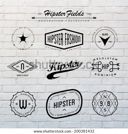 Hipster labels template set with inspiring latin phrases on white brick wall background. - stock vector