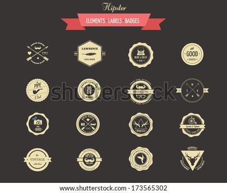 Hipster lables, badges and vector design elements - stock vector