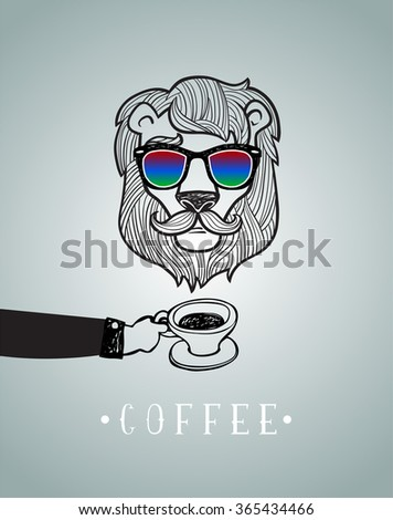Hipster lion with coffee cup vector illustration, all elements separated.  - stock vector