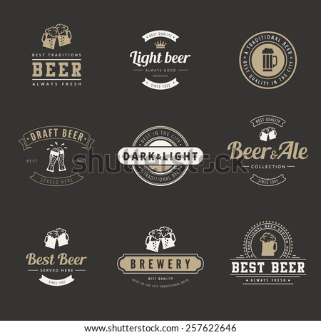 Hipster Logo Retro design vector typography lettering templates.  Beer Vintage Labels such as logotype. - stock vector