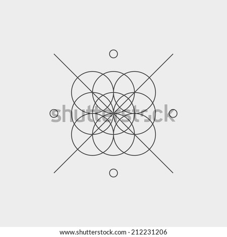 Hipster logo, with abstract circles. Black and white design. Outline style. Conceptual minimal icon. Use for card, poster, brochure, banner, web. Easy to edit. Vector illustration - EPS10. - stock vector