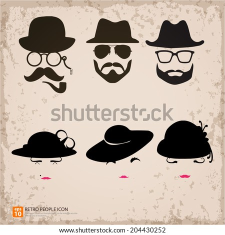 Hipster male with female character illustration in retro background, dad, mom, father,mother concept  and vintage style - stock vector