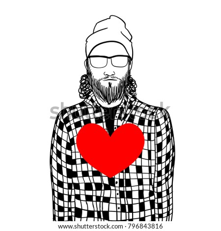 Hipster man holding heart