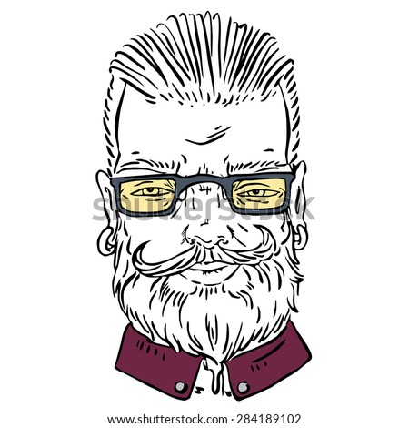 Hipster man with beard and glasses.  - stock vector