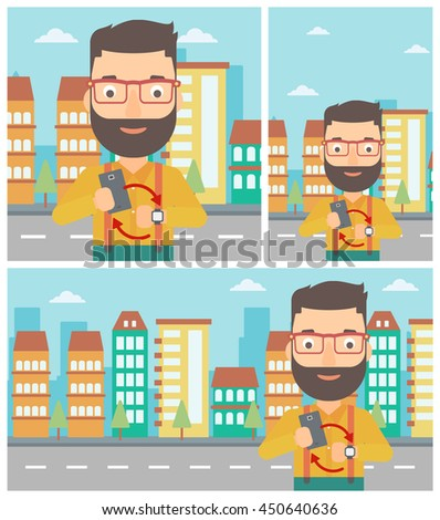 Hipster man with the beard holding smartphone and looking at his smart watch. Synchronization between smartwatch and smartphone. Vector flat design illustration. Square, horizontal, vertical layouts. - stock vector
