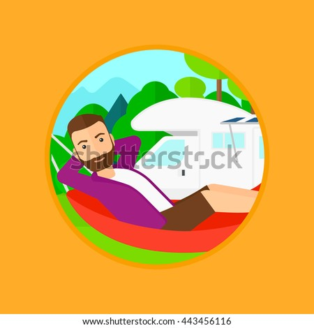 Hipster man with the beard lying in a hammock in front of motor home. Man resting in hammock and enjoying vacation in camper van. Vector flat design illustration in the circle isolated on background. - stock vector